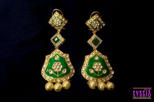 Beautiful Green Long Earrings in Kundan