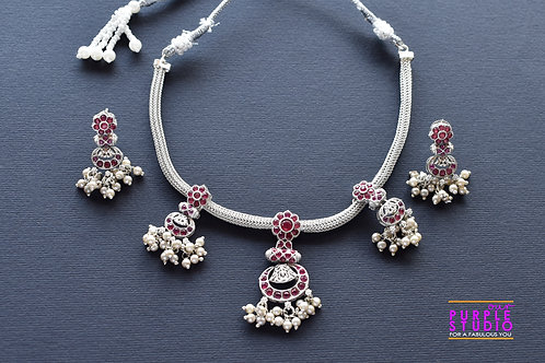 Oxidised Silver  Necklace Set with Pink Kemp Stone