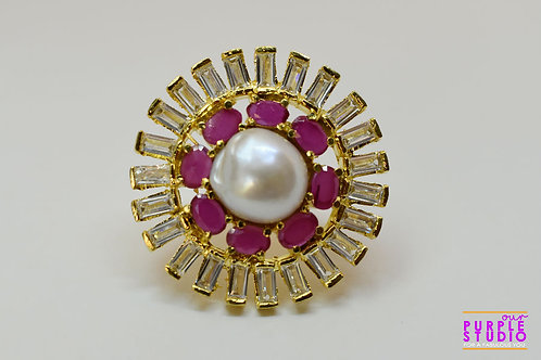 Flower Ring in Ruby With Pearl and CZ