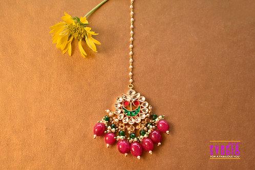 Bridal Pink Maang Tikka in Kundan with Pink Beads