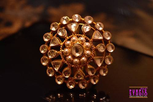 Stunning Golden Kundan Studded rING
