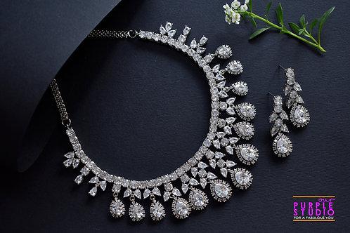 Enchanting Pure White CZ Setting Necklace Set