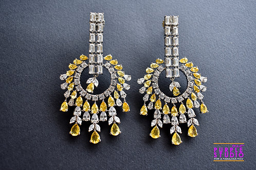 Statement  Silver Tone Earring  in Yellow and White Semi Precious Stone