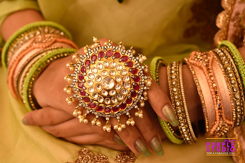 Stunning Pink Ring in Kundan