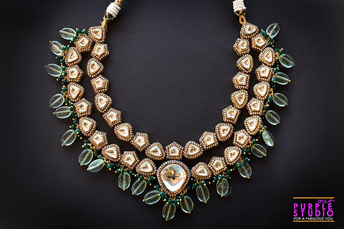 Stunning Kundan Necklace Set in Green Beads