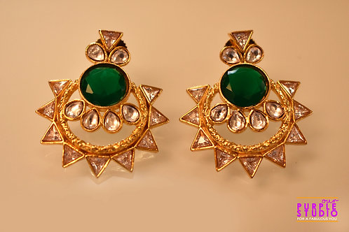 Beautiful Golden Kundan Danglers with a highlight Green Color Stone