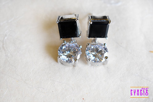 CZ Danglers with Black Top and white Drop