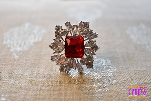 Sparkling Red Cocktail Ring