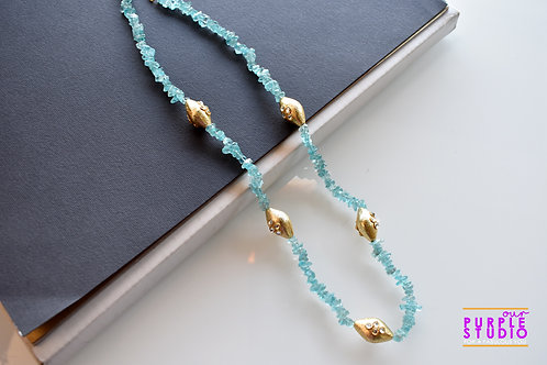 Contemporary  Sea Green Necklace with golden beads