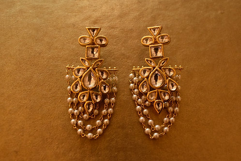 Stunning Kundan Danglers with Golden Pearl Tassels