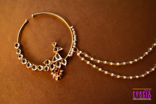 Bridal Golden Naath in Kundan with Pearls