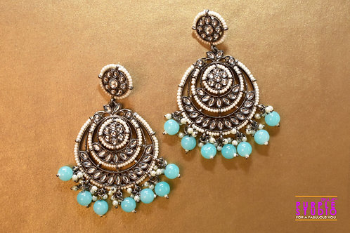 Gorgeous Silver Tone  Chandbali with Blue Beads