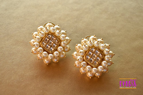 Graceful Square Kundan Stud with off white  pearl embellishment