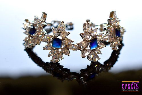 Star Studded Elegant Blue Bracelet in CZ Stone