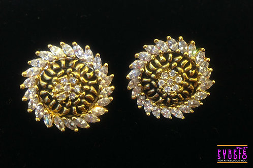 Round black with white stone earring