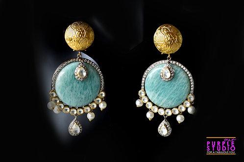 Fashionable Cocktail Earring in Green Semi Precious Stone