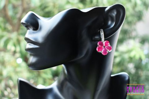 Sparkling Pink Flower Earring in CZ Stone