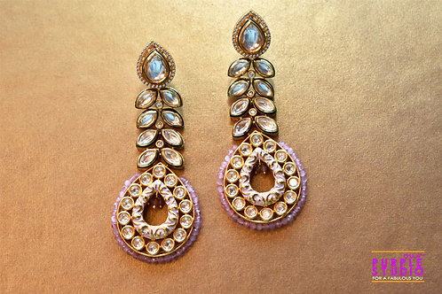 Pretty Pink Long Kundan Danglers