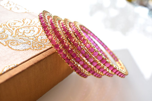 Beautiful Pink AD Bangles
