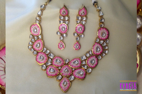 Hand Painted Graceful Pink Necklace Set in Kundan