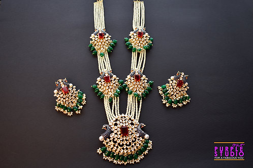 Royal Long White Beads Kundan Necklace Set with Peacock Motif