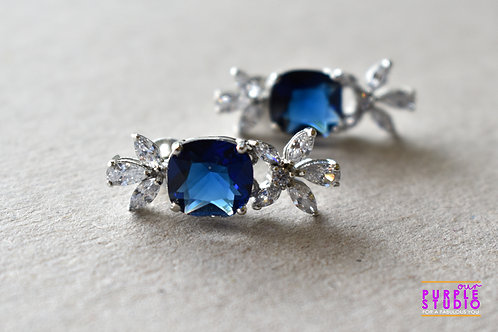 Beautiful CZ Earring in White and Blue Stone