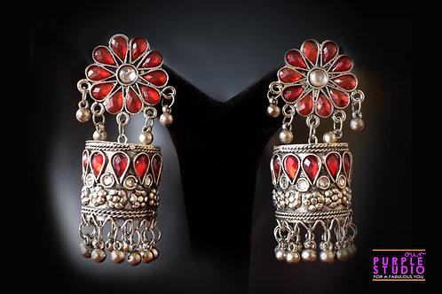 Silver Tone Red  Jhumka