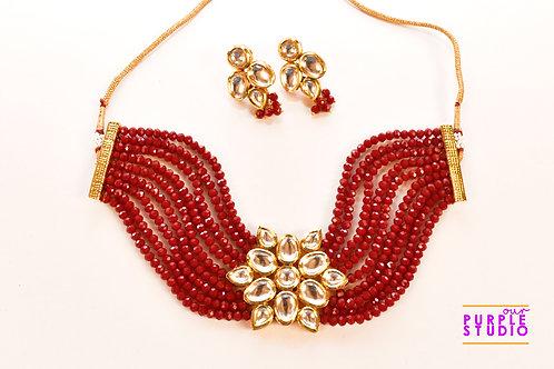 Designer Royal Kundan Choker  Set in Red Beads