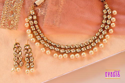 Gorgeous Kundan Necklace Set with White Pearl