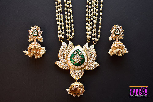 Captivating Kundan and Pearl Green Lotus Necklace Set