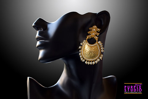 Gorgeous Golden Kundan Danglers with Pearl