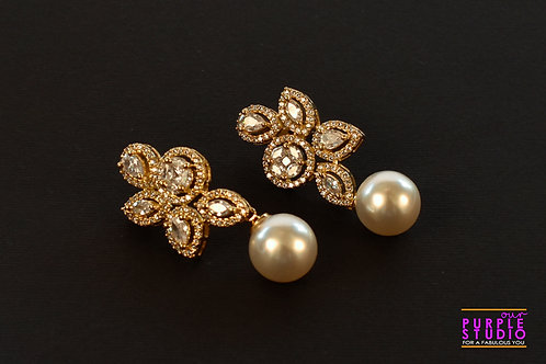 Gorgeous CZ Earring with a Pearl Drop