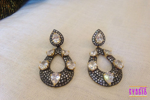 Black Cocktail Earring in Kundan
