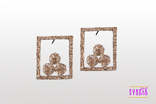 Fusion Black Hollow Rectangle Danglers  with circular designs