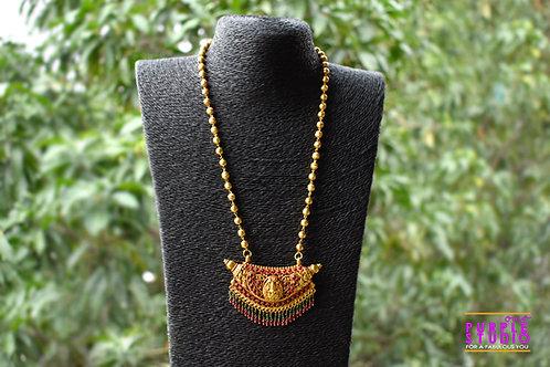 Golden Lakshmi Ji Pendant Set with Green and Pink Beads