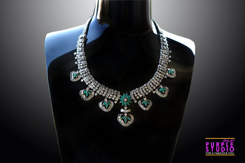 Beautiful Antique Necklace Set in White and Green Stones