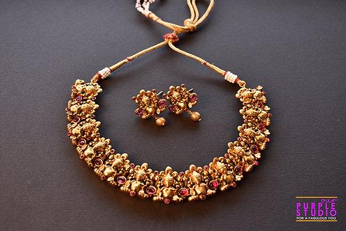 Gorgeous Ganesh Ji Golden Necklace Set