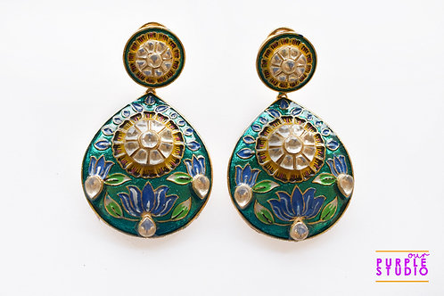 Hand Painted Turquoise Danglers