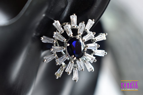 Gorgeous Stud in White and Blue CZ stone