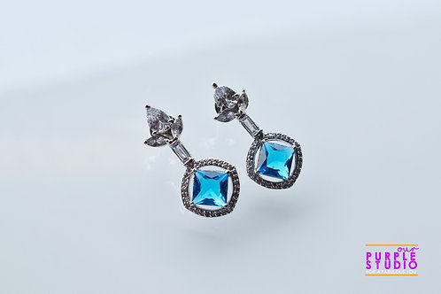 Ascetic Blue AD Earring in Silver Polish