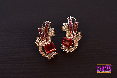 Ascetic Red Cocktail Earring in Silver Polish