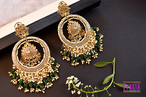 Gorgeous Golden Kundan Chandbali with Pearl and Green Beads