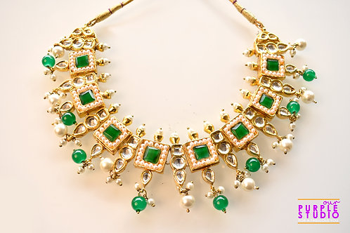 Royal Green Kundan Necklace Set