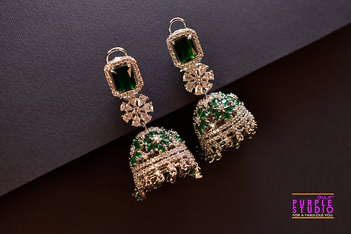 Mesmerizing Silver CZ Jhumkas with in white and Green semi precious stones