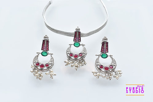 Oxidised Silver  Necklace Set with Pink and Green Kemp Stone Pendant