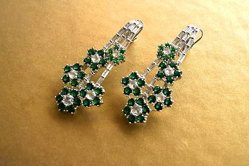Unconventional Earrings in Rich White and Green CZ Stones