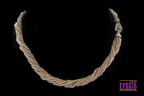 Contemporary Twisted  Necklace in off White Semi Precious Bea