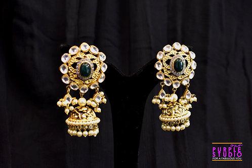Antique Golden Kundan Jhumka