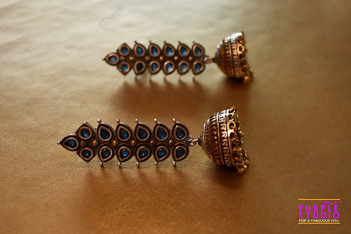 Mesmerizing Dual Tone Danglers with Blue Stones
