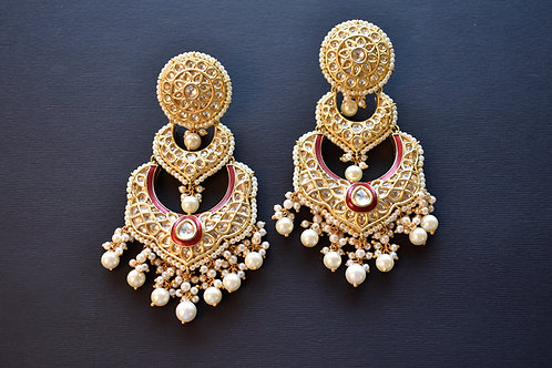 Gorgeous Golden Double Layered Kundan Danglers with a touch of Red